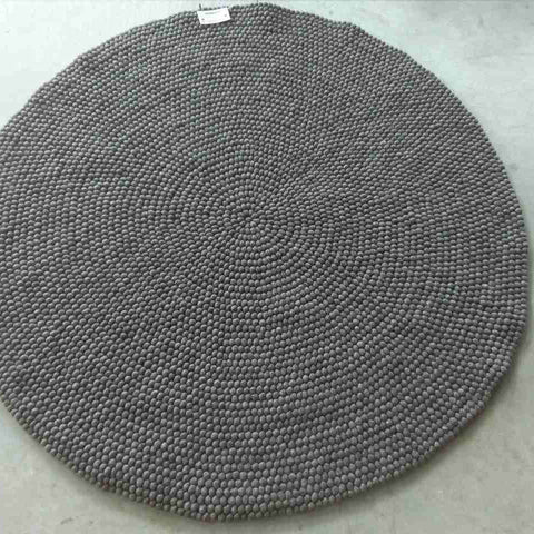 Beaver Brown Felt Ball Rug