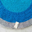Blue Ocean Ripple Felt Ball Rug