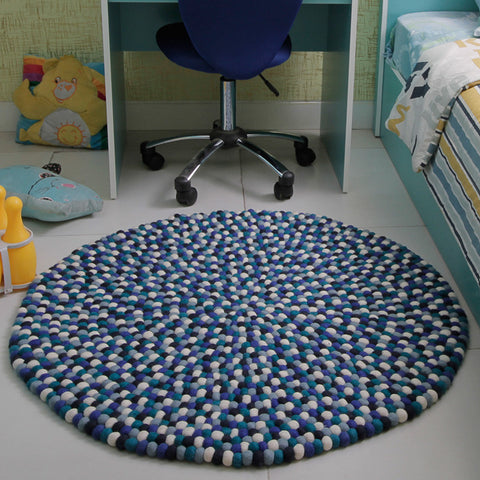 Bondi Blue Felt Ball Rug
