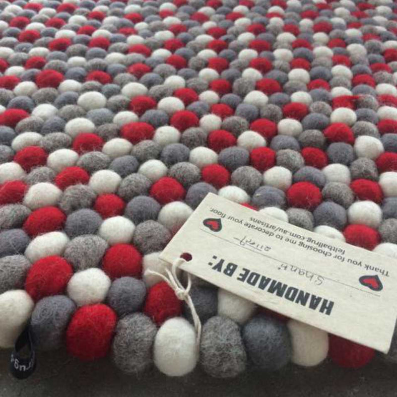 cherry pop felt ball rug