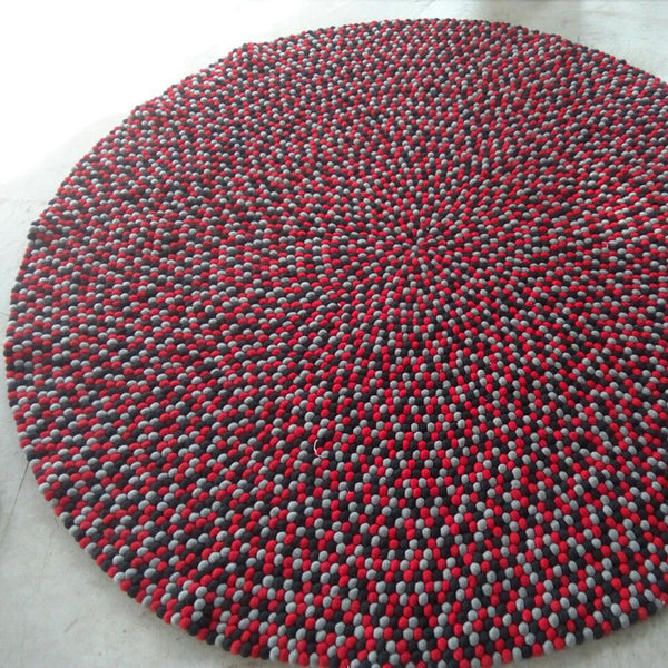 felt ball rug cherry berry