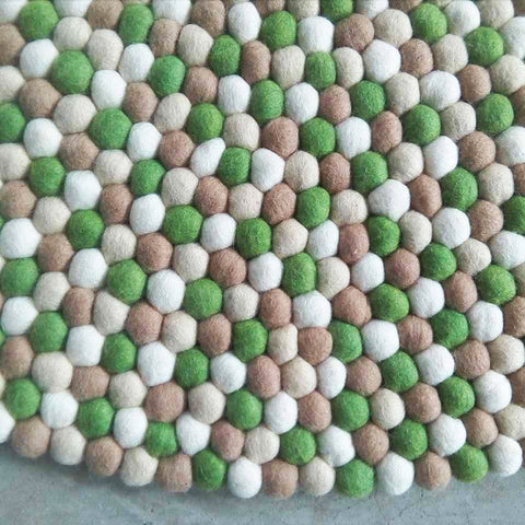 Choc Mint Felt Ball Rug