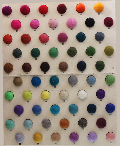 Felt Ball Rug Colour Chart