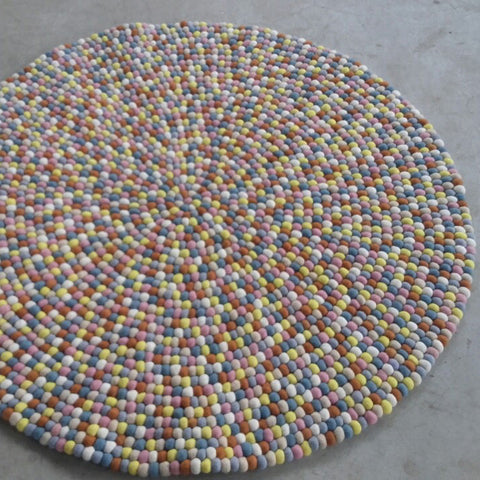 Cotton Candy Felt Ball Rug