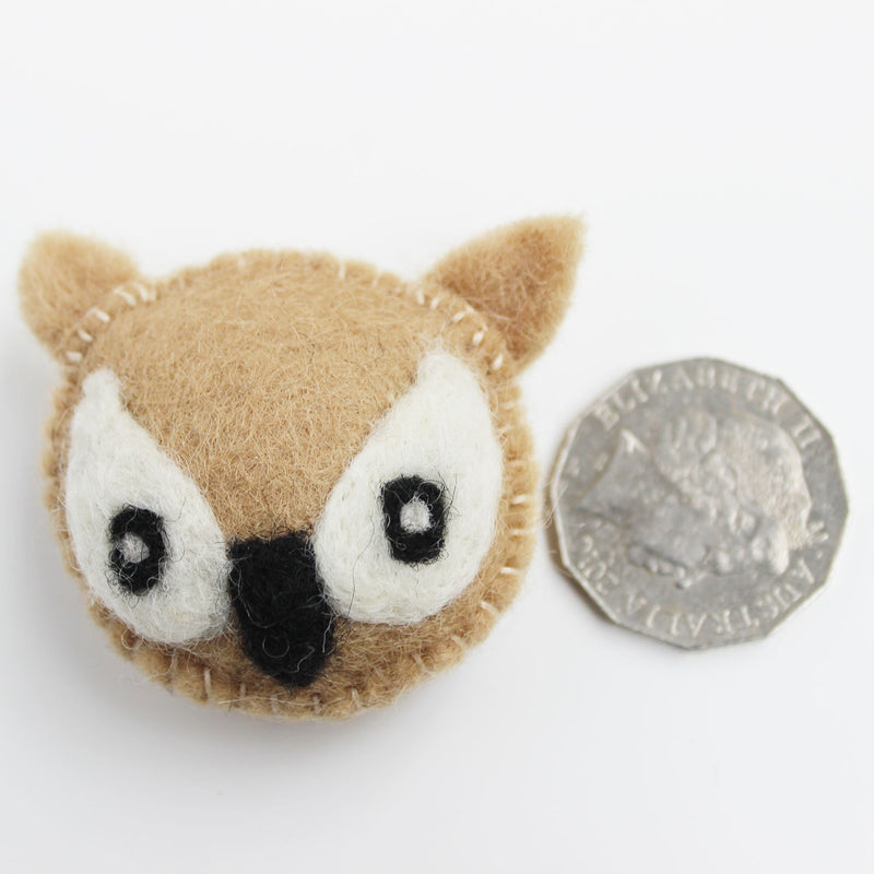 felted bird head owl