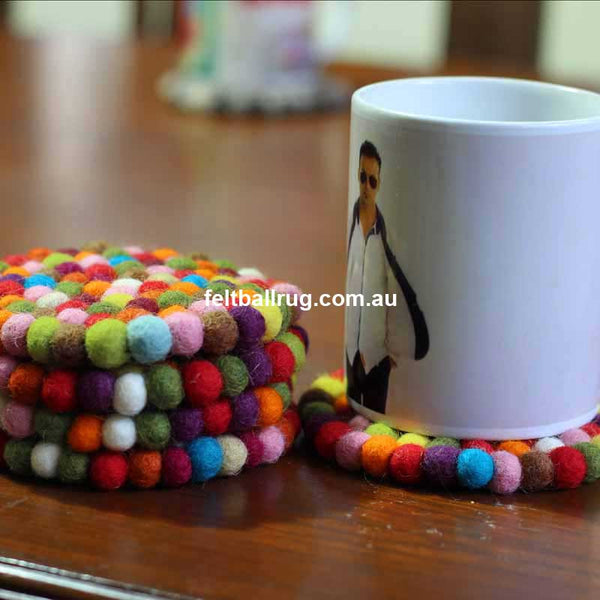 Multi Colored Felt Ball Coaster - Felt Ball Rug Australia - 1