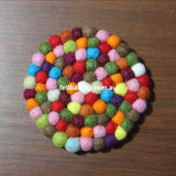 Multi Colored Felt Ball Coaster - Felt Ball Rug Australia - 2