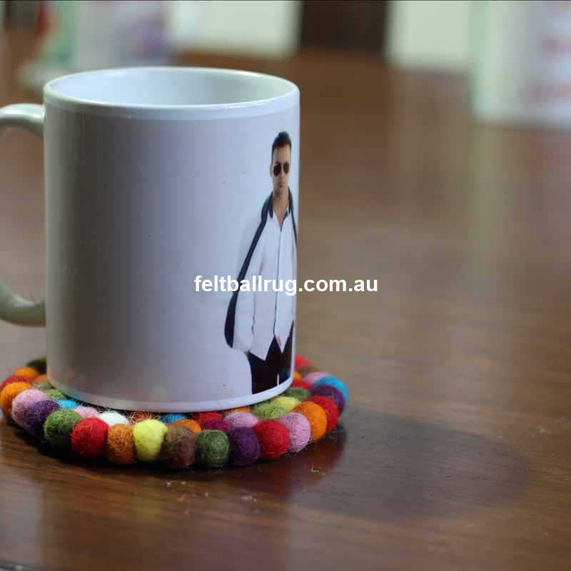 Multi Colored Felt Ball Coaster - Felt Ball Rug Australia - 3