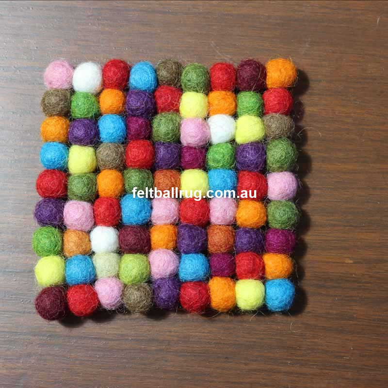 Multicolored Square Felt Ball Coaster - Felt Ball Rug Australia - 2