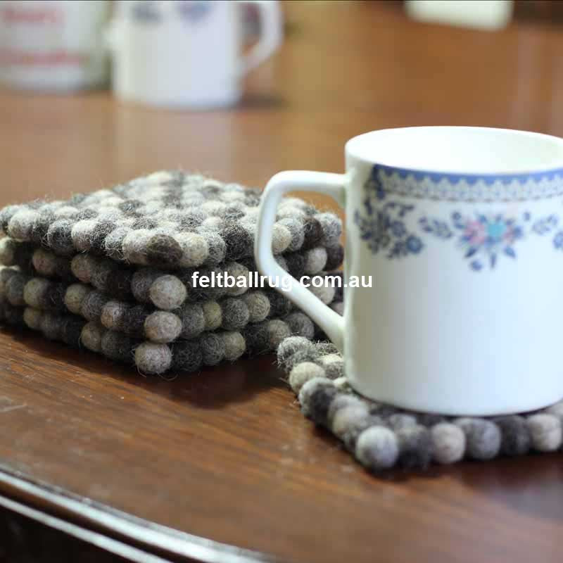 Natural Square Felt Ball Coaster - Felt Ball Rug Australia - 1
