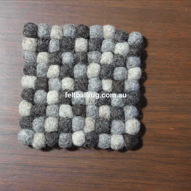 Natural Square Felt Ball Coaster - Felt Ball Rug Australia - 2