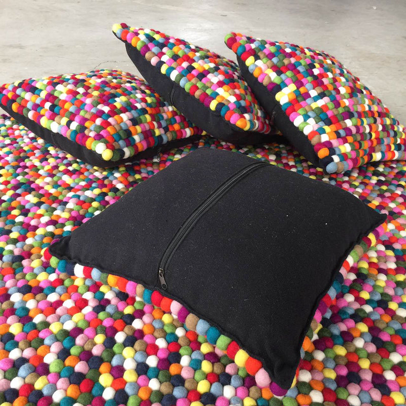 Felt Ball Cushion Multicoloured