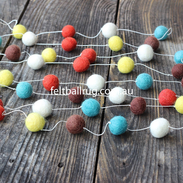 Felt Ball Garland Orange Blue Brown White - Felt Ball Rug Australia - 1
