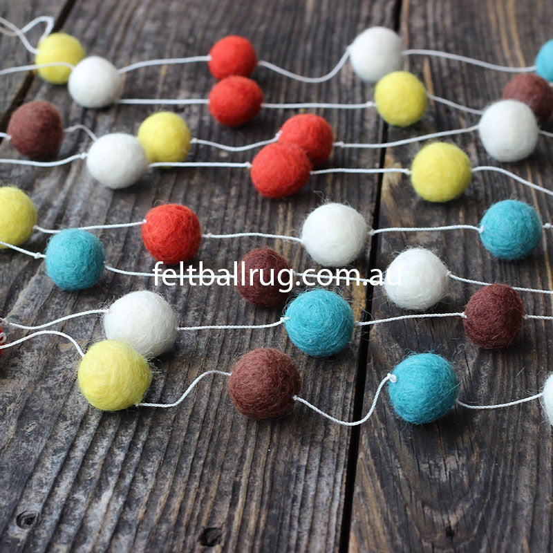 Felt Ball Garland Orange Blue Brown White - Felt Ball Rug Australia - 2