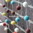 Felt Ball Garland Orange Blue Brown White - Felt Ball Rug Australia - 3
