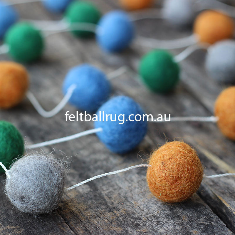 Pom Pom Garland Blue Green Grey Brown - Felt Ball Rug Australia - 1