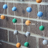 Pom Pom Garland Blue Green Grey Brown - Felt Ball Rug Australia - 2