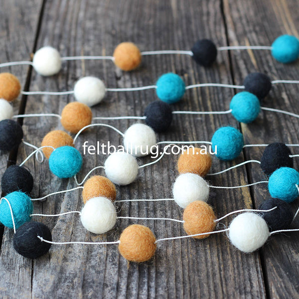 Felt Ball Garland Black Ocean Green White Brown - Felt Ball Rug Australia - 1