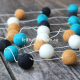 Felt Ball Garland Black Ocean Green White Brown - Felt Ball Rug Australia - 2