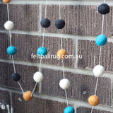 Felt Ball Garland Black Ocean Green White Brown - Felt Ball Rug Australia - 3