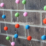 Felt Ball Garland Pink Red Green And Blue - Felt Ball Rug Australia - 2