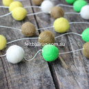 Felt Ball Garland Lime Green Olive Yellow White - Felt Ball Rug Australia - 2