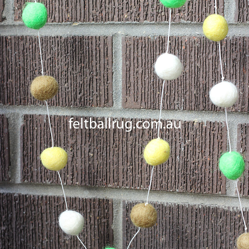 Felt Ball Garland Lime Green Olive Yellow White - Felt Ball Rug Australia - 3