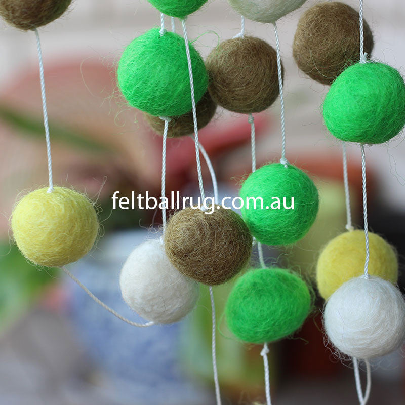 Felt Ball Garland Lime Green Olive Yellow White - Felt Ball Rug Australia - 4