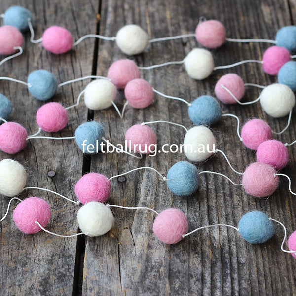 Felt Ball Garland Pink White Blue - Felt Ball Rug Australia - 1