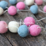 Felt Ball Garland Pink White Blue - Felt Ball Rug Australia - 2