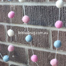 Felt Ball Garland Pink White Blue - Felt Ball Rug Australia - 3