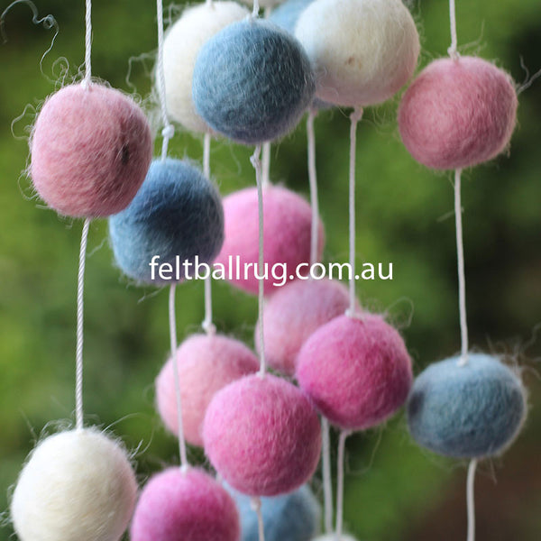 pink and white felt ball garland