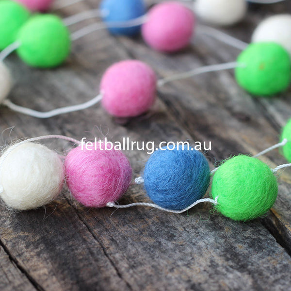 Felt Ball Garland Lime Green Pink Blue White - Felt Ball Rug Australia - 1