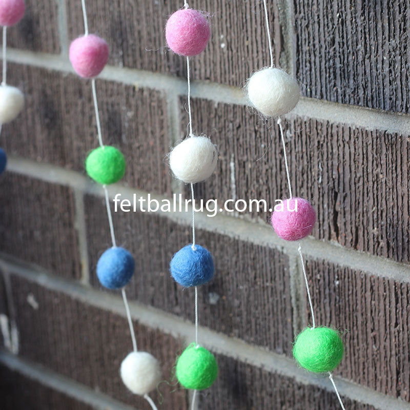 Felt Ball Garland Lime Green Pink Blue White - Felt Ball Rug Australia - 2