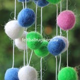 Felt Ball Garland Lime Green Pink Blue White - Felt Ball Rug Australia - 3