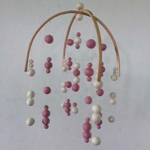 felt ball mobile pink white