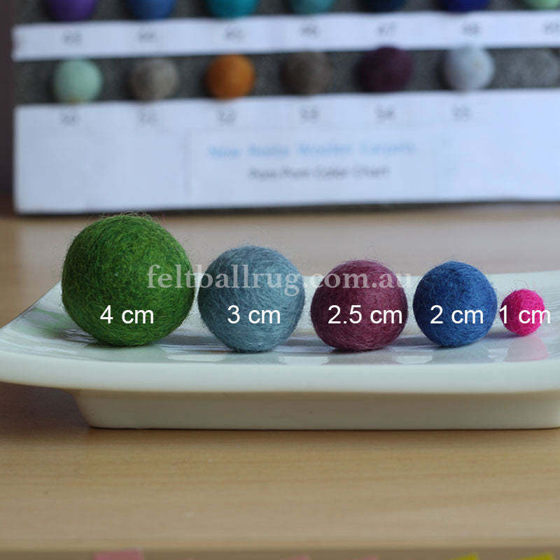 Felt Ball Lolly Green 1 CM,  2 CM, 2.5 CM, 3 CM, 4 CM Colour 50 - Felt Ball Rug Australia - 2