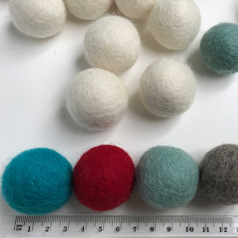 3 CM Felt Balls Assorted Colours