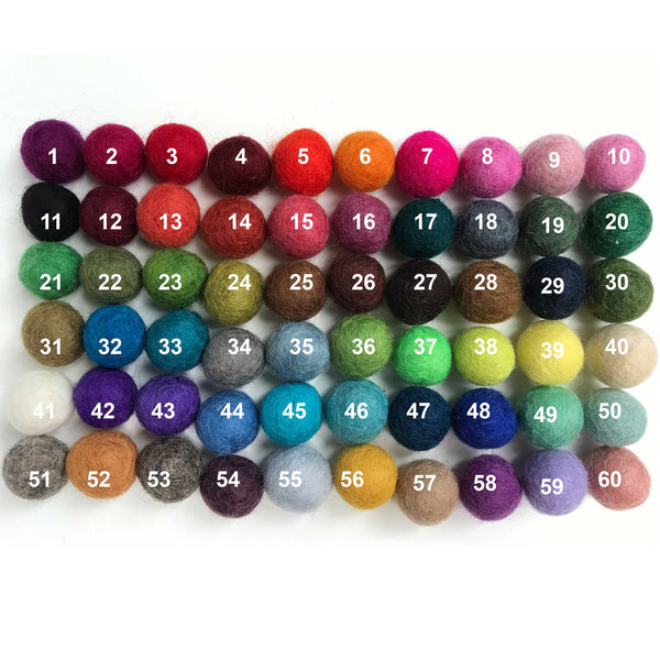2 CM Felt Balls Assorted Colours