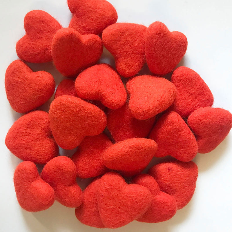 Felt Hearts Crimson Red