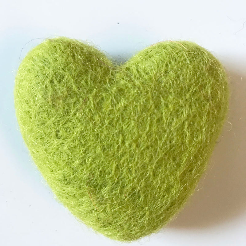 Felt Hearts Bright Green