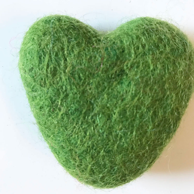 Felt Hearts Lime Green
