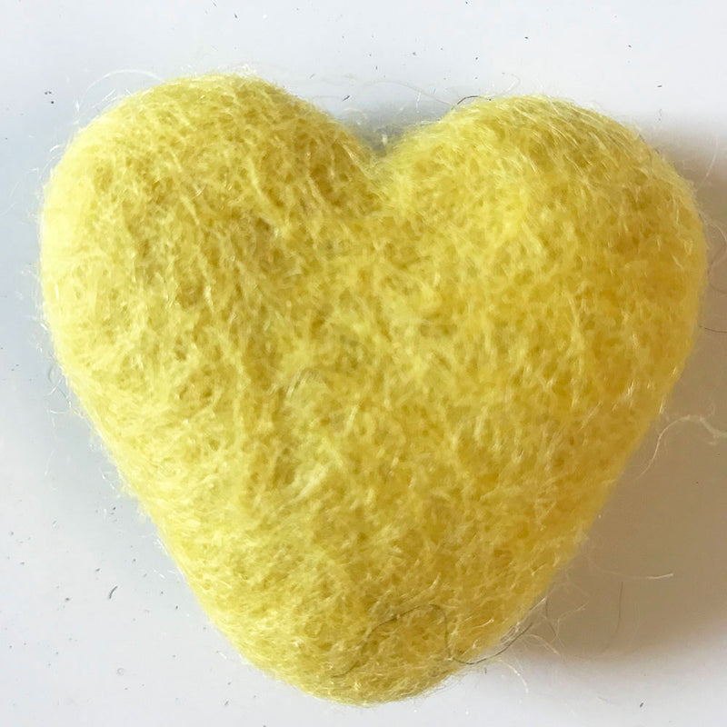 felt hearts yellow