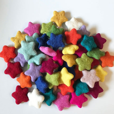 felt stars multicoloured