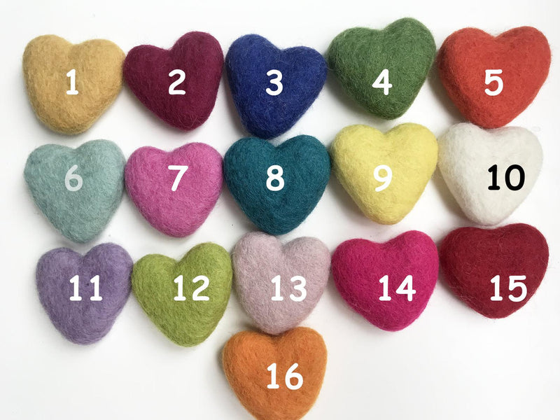 Felt Hearts Assorted Colours