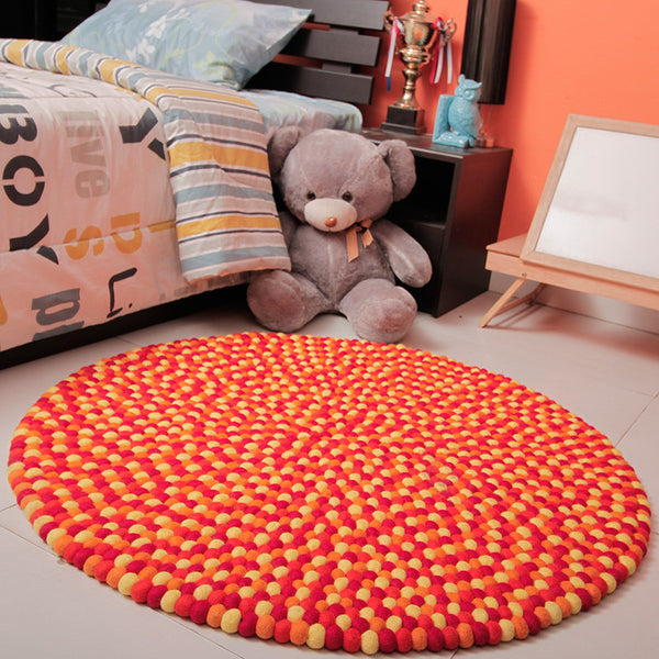 Golden Felt Ball Rug