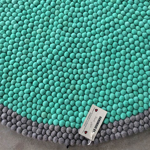 Mint Dreams Felt Ball Rug