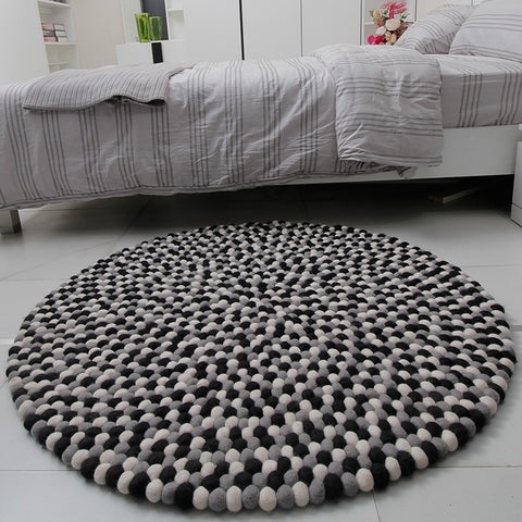 monochrome felt ball rug - popular felt ball rug for kid rooms