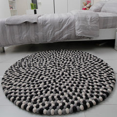 Monochrome Felt Ball Rug