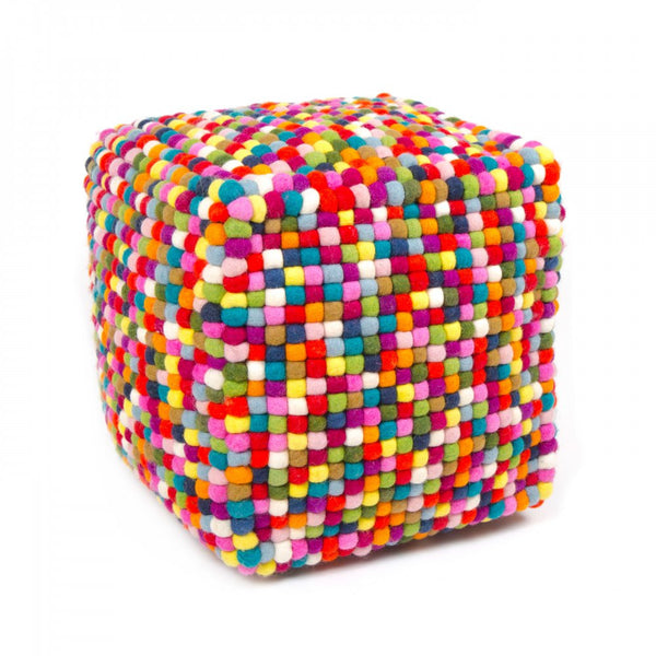 Multicolored Felt Ball Ottoman Handmade In Nepal Felt